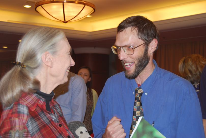 The author with Dr Jane Goodall, world renowned primate expert and conservationist